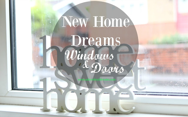 new home dreams - windows and doors. Home sweet home sign in window with header text over.