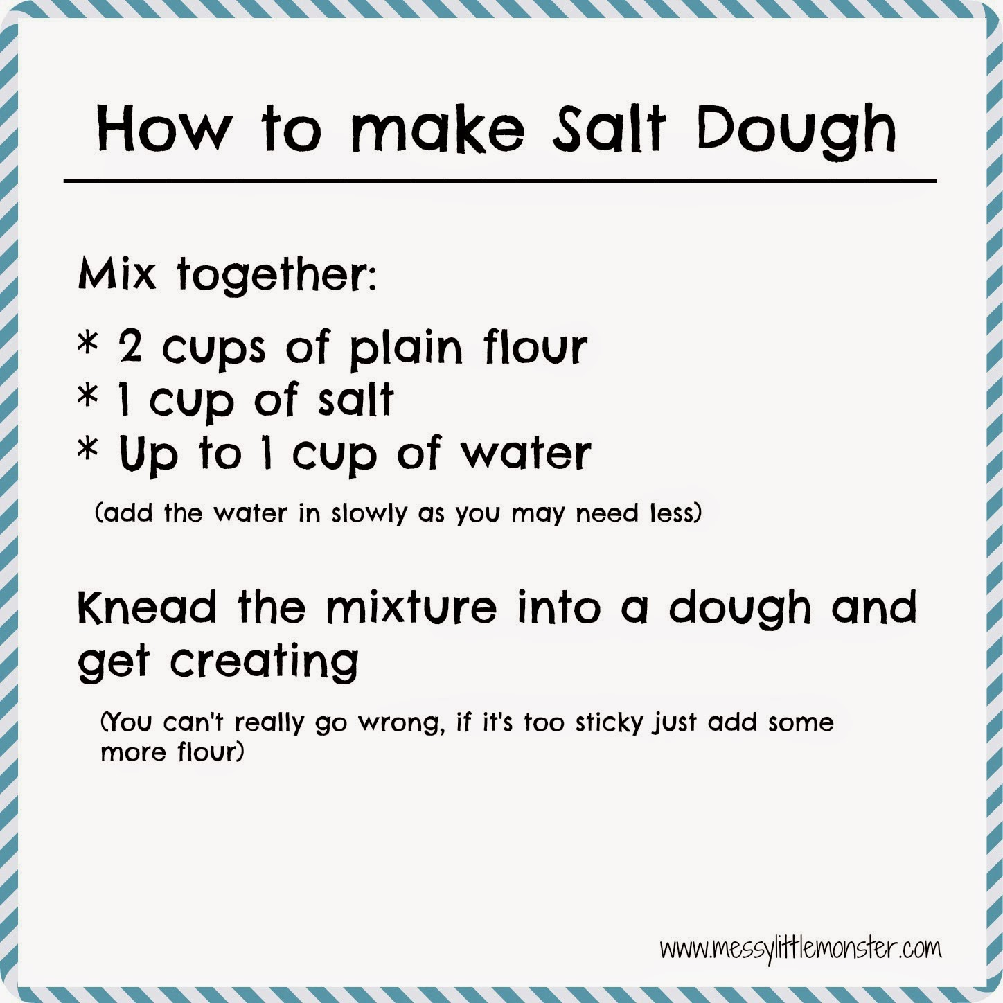 How to make salt dough recipe.  Simple printable recipe and salt dough craft ideas for kids.