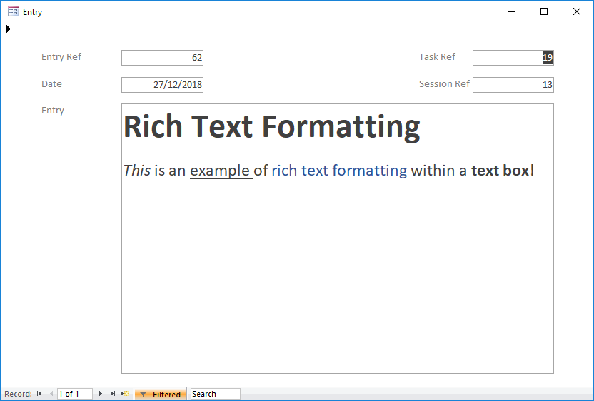 Microsoft Access Tips: Adding rich text formatting to Access data