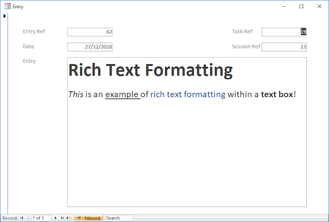 Access 365 Rich Text Formatting Example