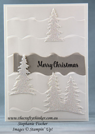 #thecraftythinker, #stampinup, #christmascard, #cardmaking, Christmas Card, Ruffled embossing folder, neutral colours, Stampin' Up Australia Demonstrator, Stephanie Fischer, Sydney NSW