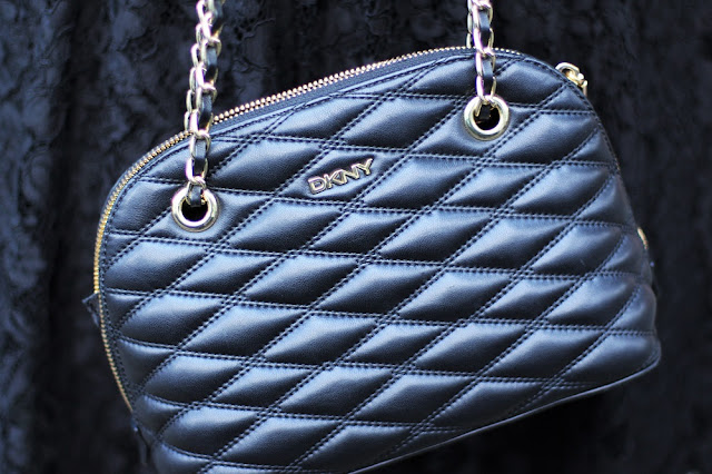 DKNY quilted black leather bag - UK fashion blog