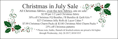 Christmas in July Sale at Crazy Quilt Girl Fabric Shop!