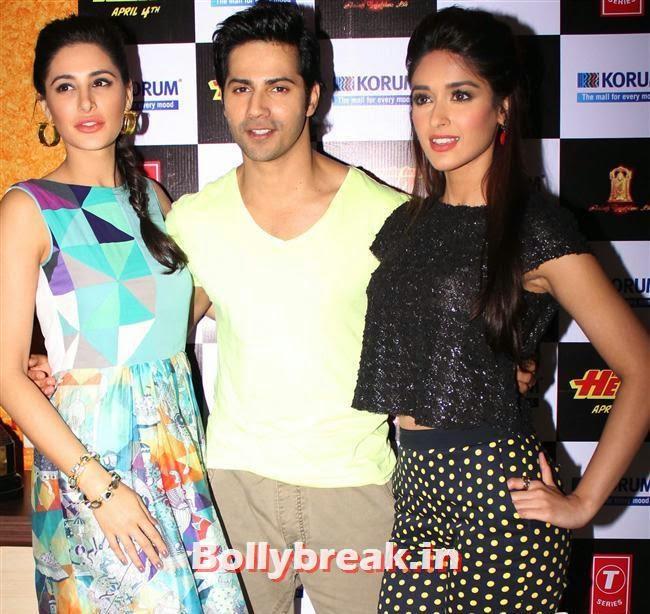 Nargis Fakhri, Varun Dhawan and Ileana D'Cruz, Hot Nargis Fakhri & Ileana Promote Movie Main Tera Hero Movie