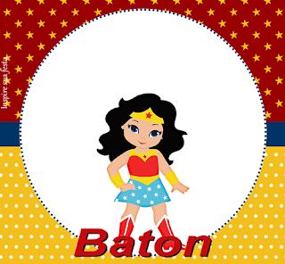 Etiquetas de Mujer Maravilla Chibi para imprimir gratis.