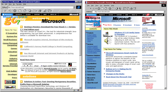 homepage microsoft branded yellow e blue