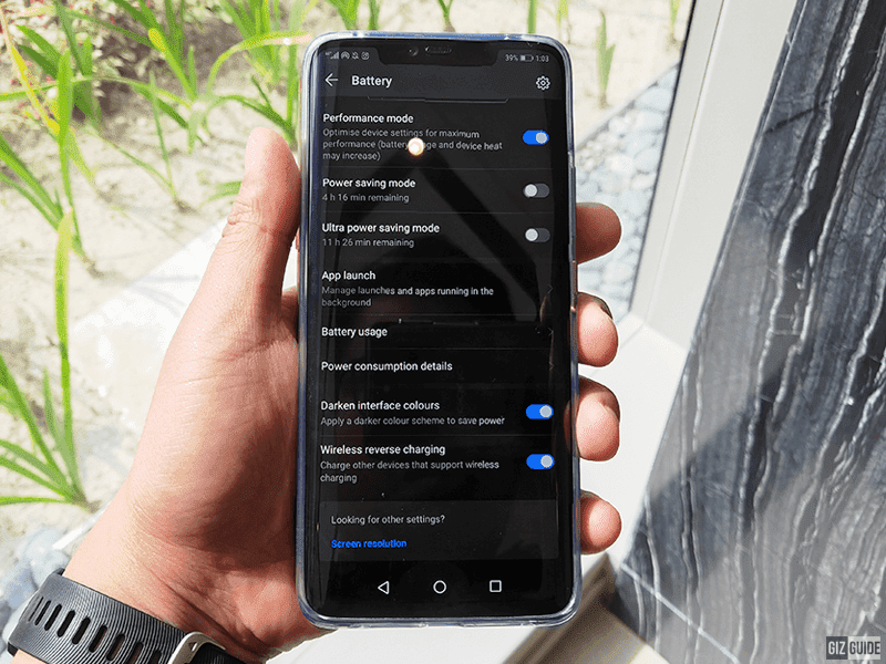 At the battery settings of the Mate 20 Pro, you can turn on the reverse wireless charging feature