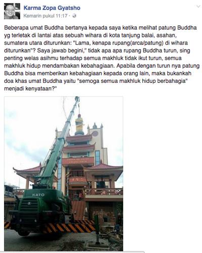 Dianggap Mengganggu, Ormas Islam dan Pemkot Turunkan Patung Buddha di Vihara