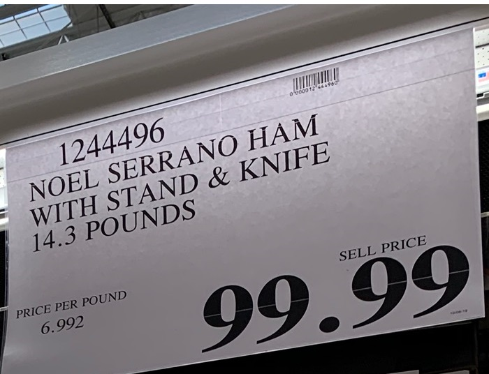 Deal for a Noel Spanish Serrano Ham at Costco