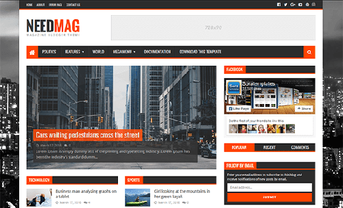 Free NeedMag Blogger Template download
