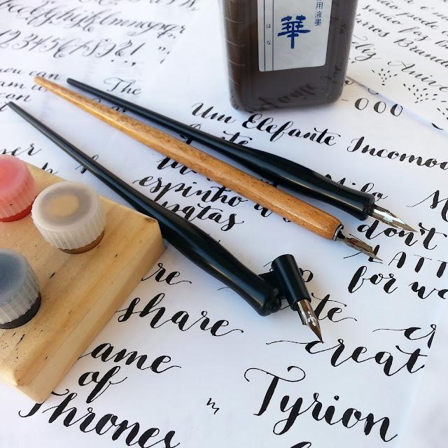 nib, sumi ink, modern calligraphy
