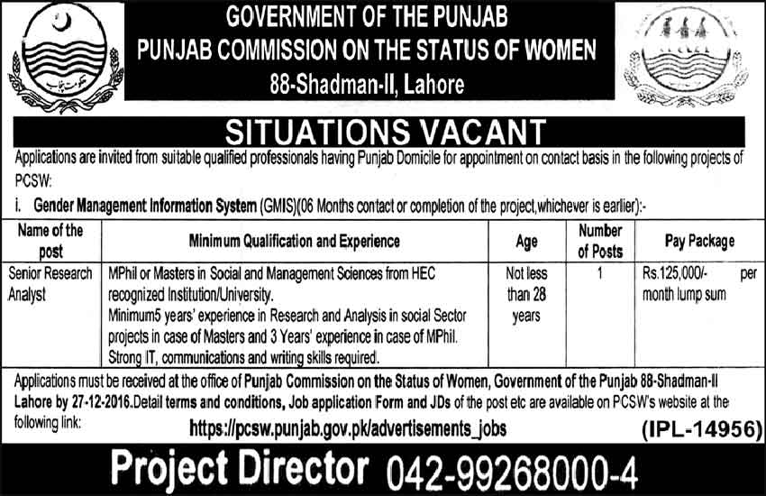 Punjab Commission Of The Status Of Women Lahore Jobs
