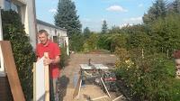 Treppenrenovierung - Tischkreissäge mit Industriestaubsauger