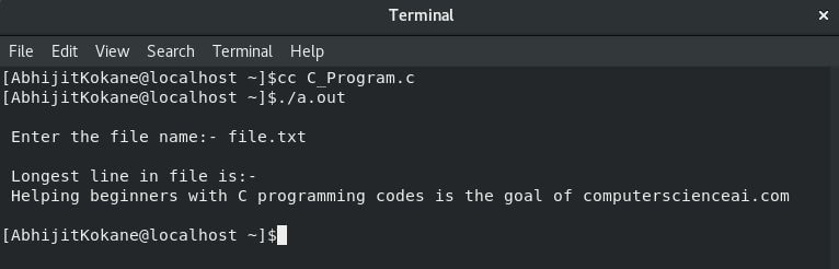 Output of C program to find longest line in a file