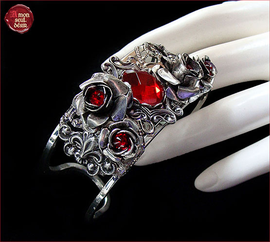 bracelet rose rouge fleur saint valentin cadeau amour toujours true love bangle red flowers valentine day gift
