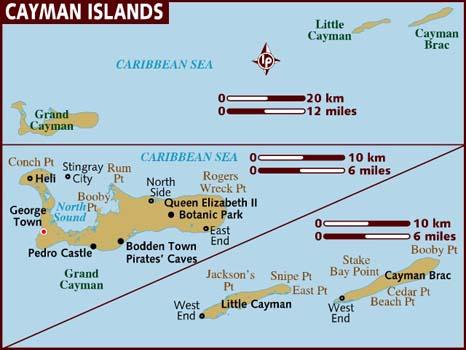 Mapas das Ilhas Cayman | Reino Unido