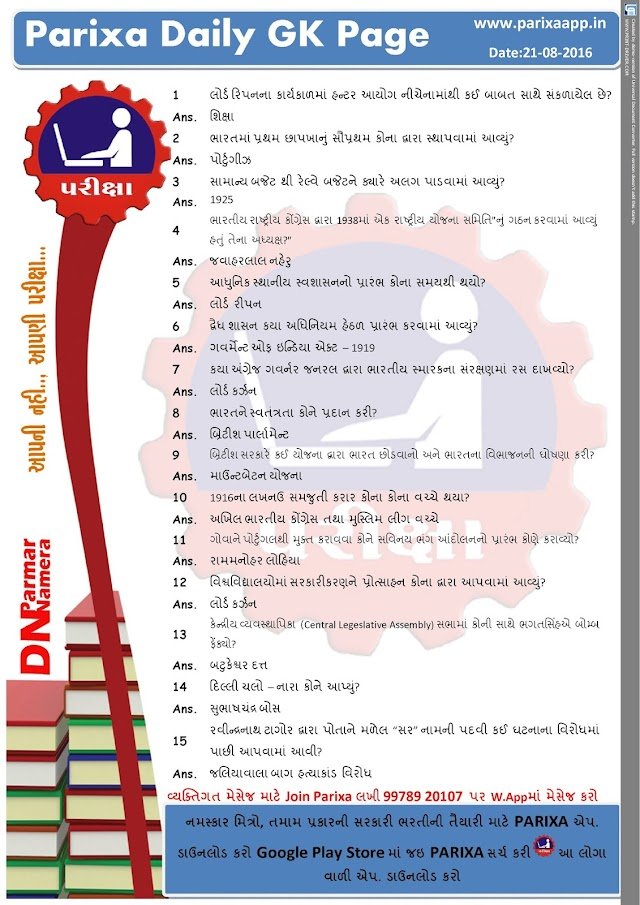Parixa Daily GK Page Date: 21/08/2016