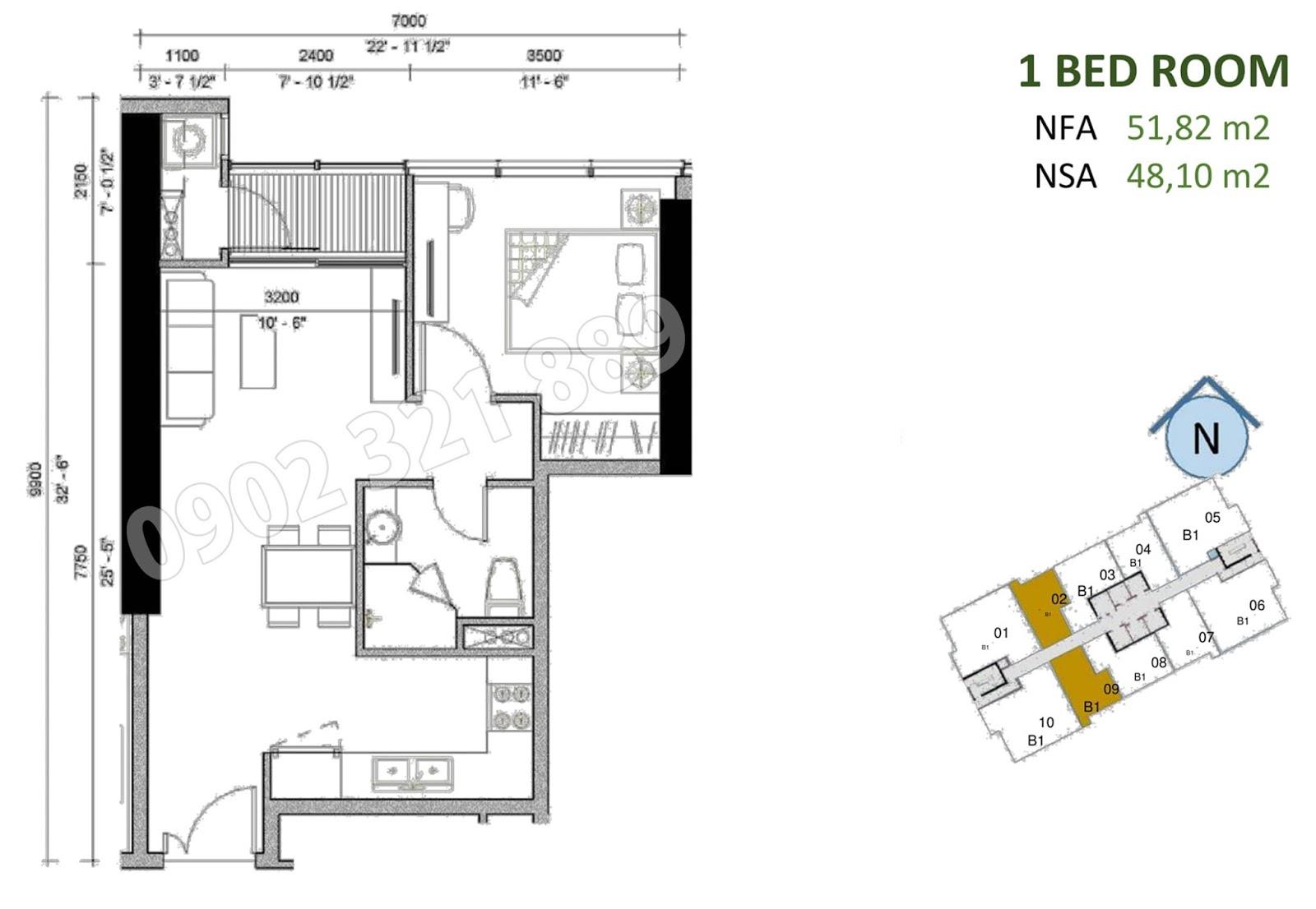 mặt bằng căn hộ sunwah pearl 1 phòng ngủ B1-02 và B1-09