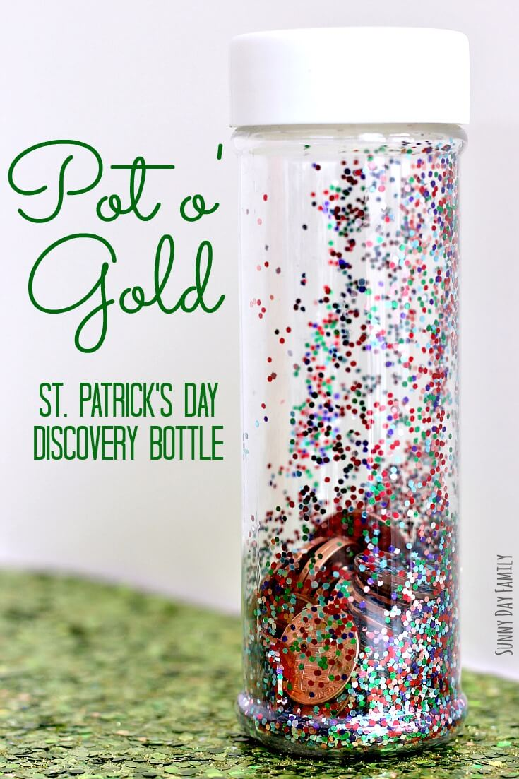Can you find all the coins in this rainbow themed I Spy bottle? Preschoolers will love to shake and roll this rainbow themed discovery bottle to count the coins inside. A super fun St. Patrick's Day activity for kids!!