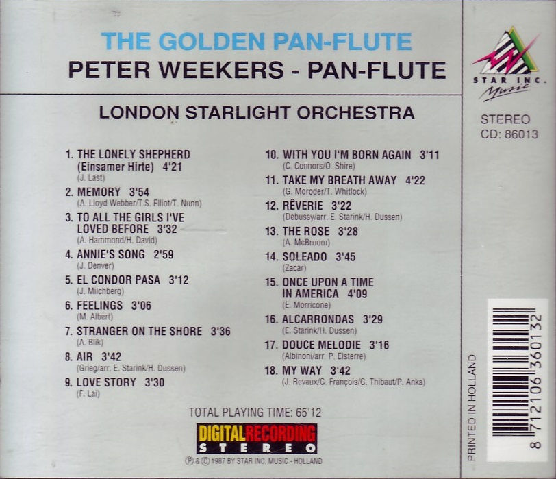 ENTRE MUSICA: PETER WEEKERS - The Golden Pan-Flute (1987)