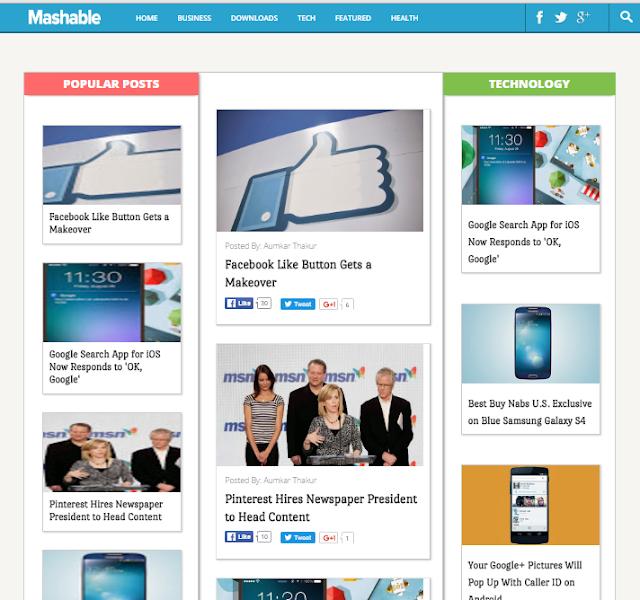Dynamo Mashable Magazine Blogger Template