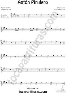 Saxofón Alto y Sax Barítono Partitura de Antón Pirulero Sheet Music for Alto and Baritone Saxophone Music Scores