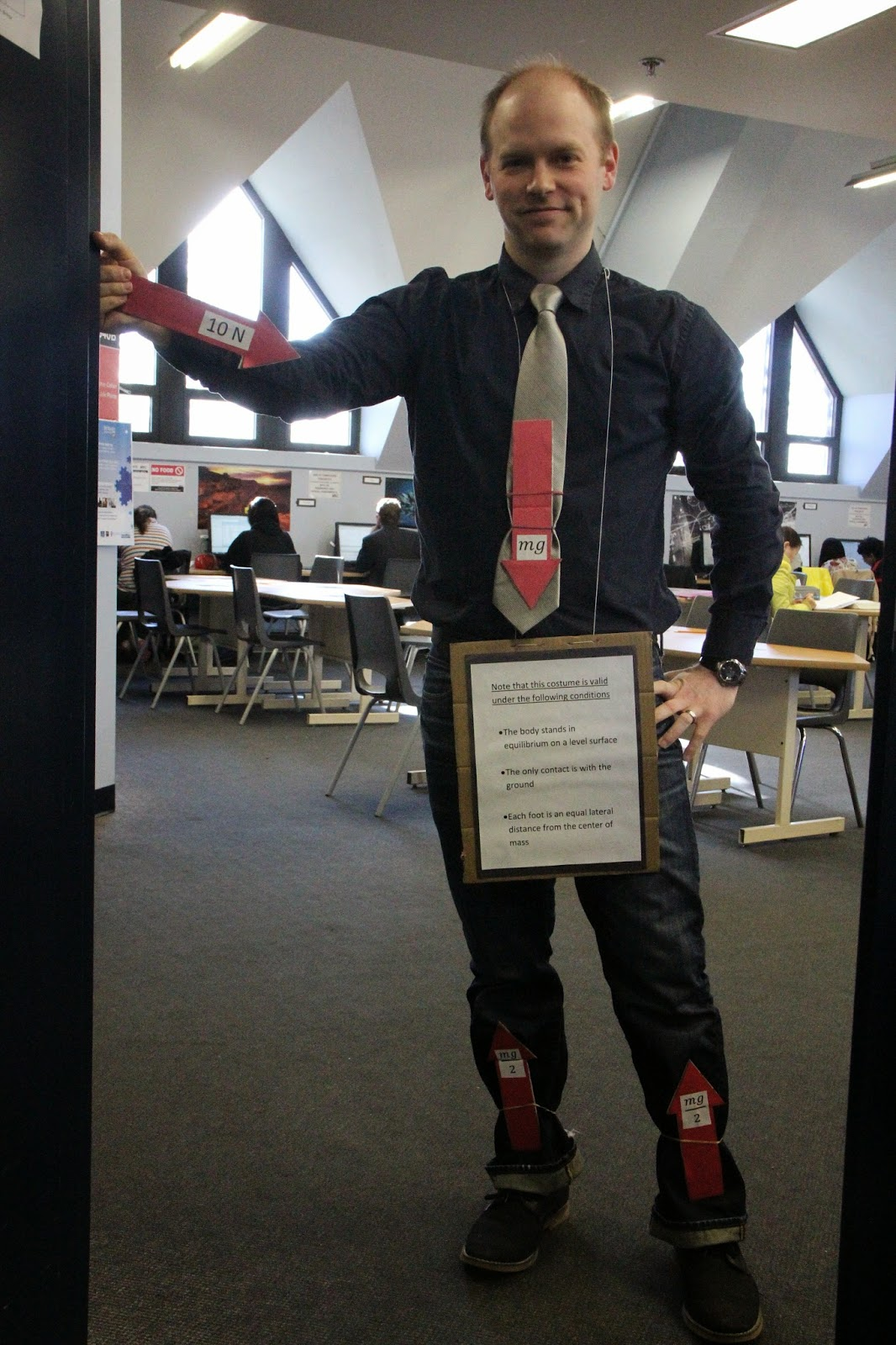 as you can possibly tell i was dressed up as a free body diagram all the forces acting on me were identified by force vectors large red arrows at their  [ 1066 x 1600 Pixel ]