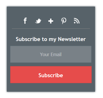 Custom emaill subscription widget for blogger with social media integration