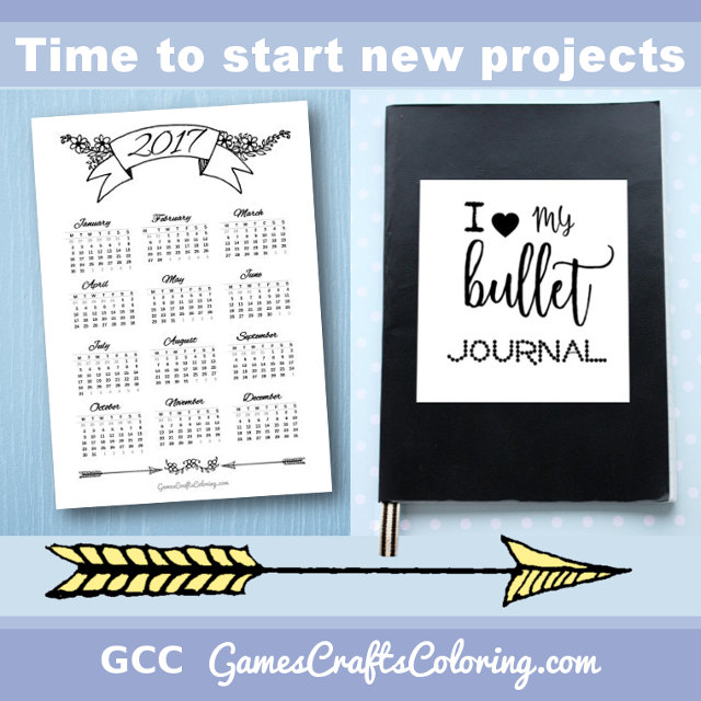 Bullet journal inspiration, freebies, printable calendar 2017