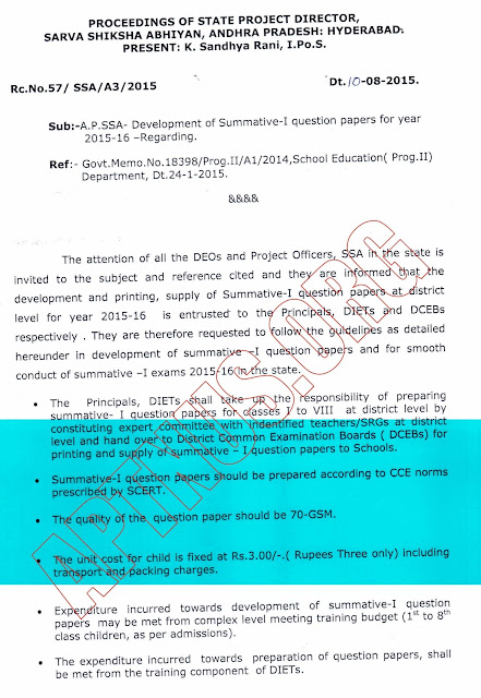 RC 57.Dt.10.8.15. Development of Summative - I papers