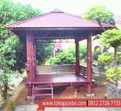 Gazebo Glugu Minimalis Tiang