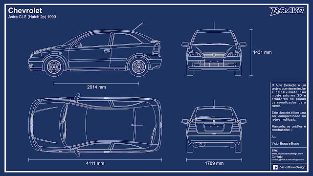 Imagem mostrando o desenho do blueprint Chevrolet Astra GLS (Hatch 2p) 1999