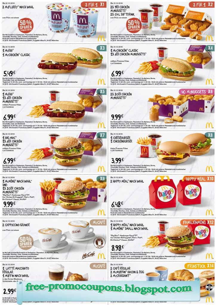 Mcdonalds Free Food Coupons