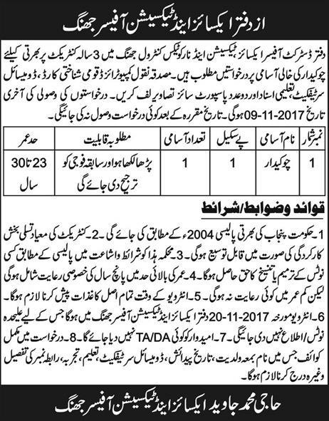 Chowkidar Jobs in Excise Taxation Officer Jhang October 2017.