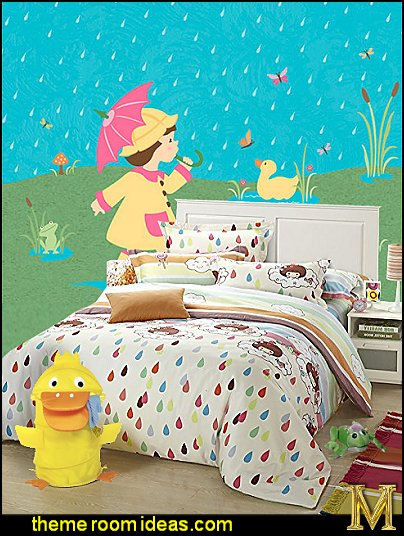rain theme bedroom decorating rain theme bedding raindrops wall mural duck frogs rain theme