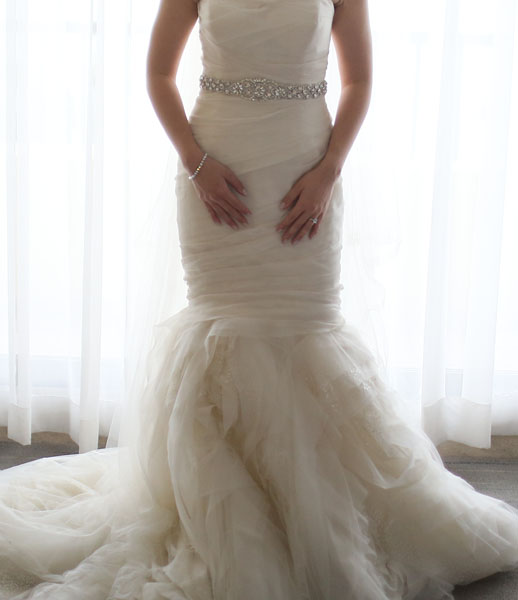 faf11b17c20b A very soft mermaid wedding gown, Vera Wang Gemma has bands of tulle  wrapped around its body like swirling cyclone, giving the gown a  deconstructed look.