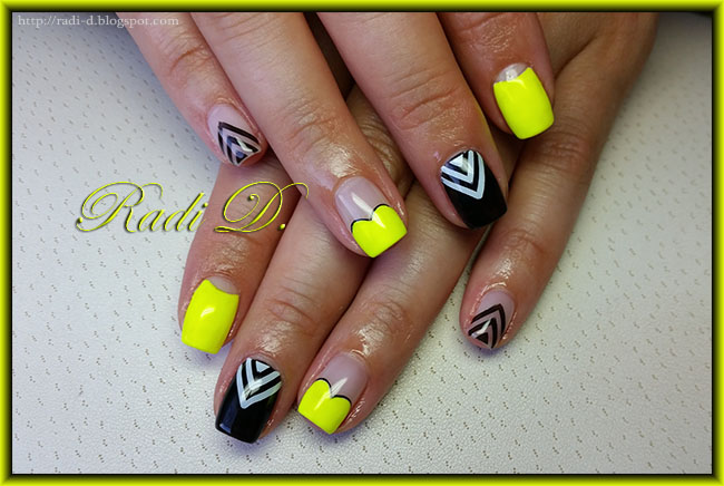 It S All About Nails Neon Yellow And Black Arrows