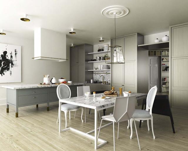 Desain 3D Ruang Makan Yang Elegan