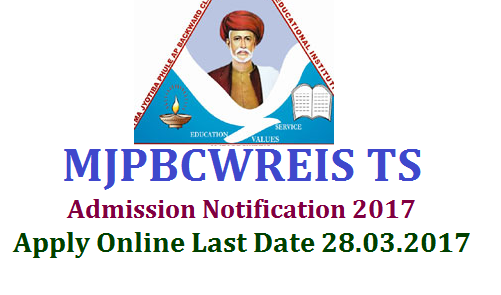 MJPBCWRIES BC Residential Schools Admission Test  Notification 2017  Apply Online @mjptbcwreis.cgg.gov.in for 6th & 7th Classes | Mahathma Jyothiba Pule BC Welfare Residential Educational Institutions Entrance Test Notification to get admission into 6th 7th and 8th classes | Date of Entrance exam MJPBCWREIS in Telangana 16.04.2017 | Download Hall Tickets from 06.04.2017 | Apply Online from 16.02.2017 to 28.03.2017 for Telangana BC Welfare Residential Schools mjpbcwreis-bc-residential-schools-admission-noitification-apply-online-mjptbcwreis.cgg.gov.in