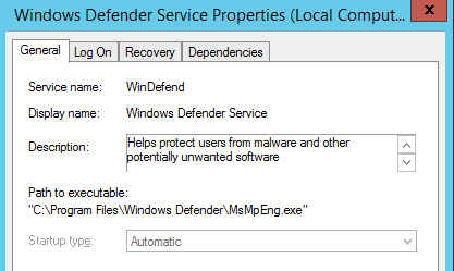 Servicio y Windows Defernder en Windows Server 2015 Technical Preview