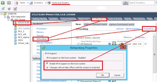 VSphere Client, habilitar o deshabilitar IPv6