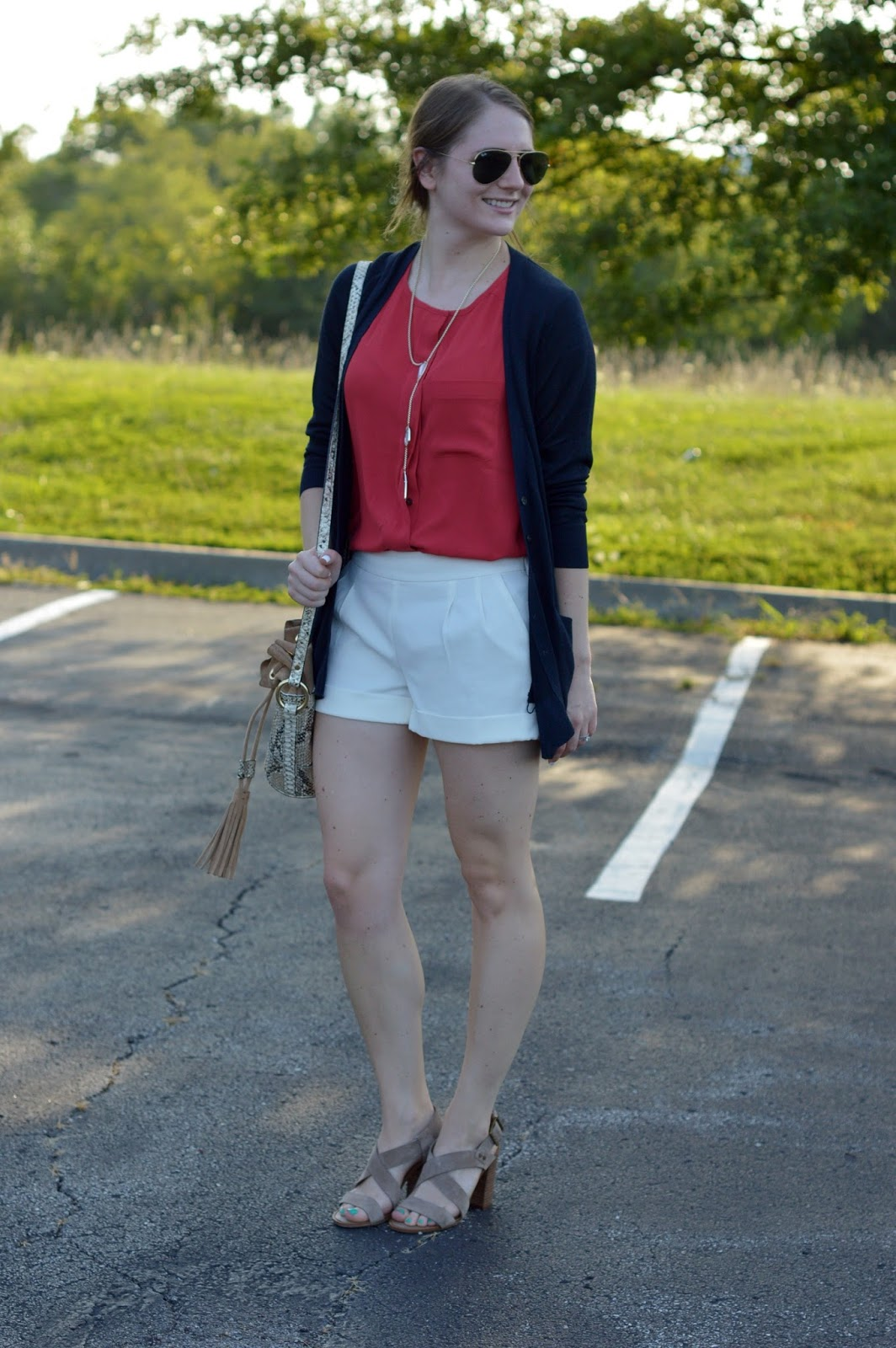 shorts with block heeled sandals | red white and blue looks | a memory of us | outfit ideas with white shorts | shorts with heels | what to pair with a boyfriend cardigan |