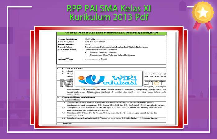 RPP PAI SMA Kelas XI Kurikulum 2013 Pdf