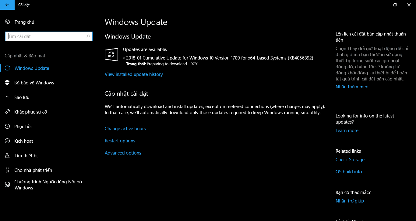 Cập nhật 3 tháng 1, 2018 - KB4056892 cho Windows 10 Phiên bản 1709 (OS Build 16299.192)