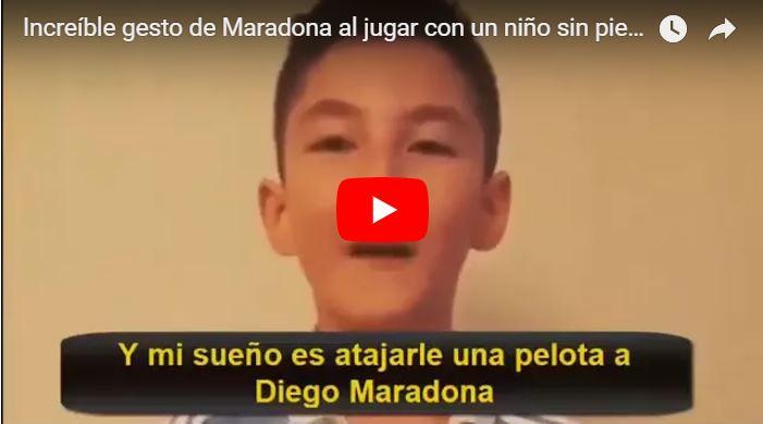 Maradona se burló de un niño sin piernas al que le marcó un gol innecesario