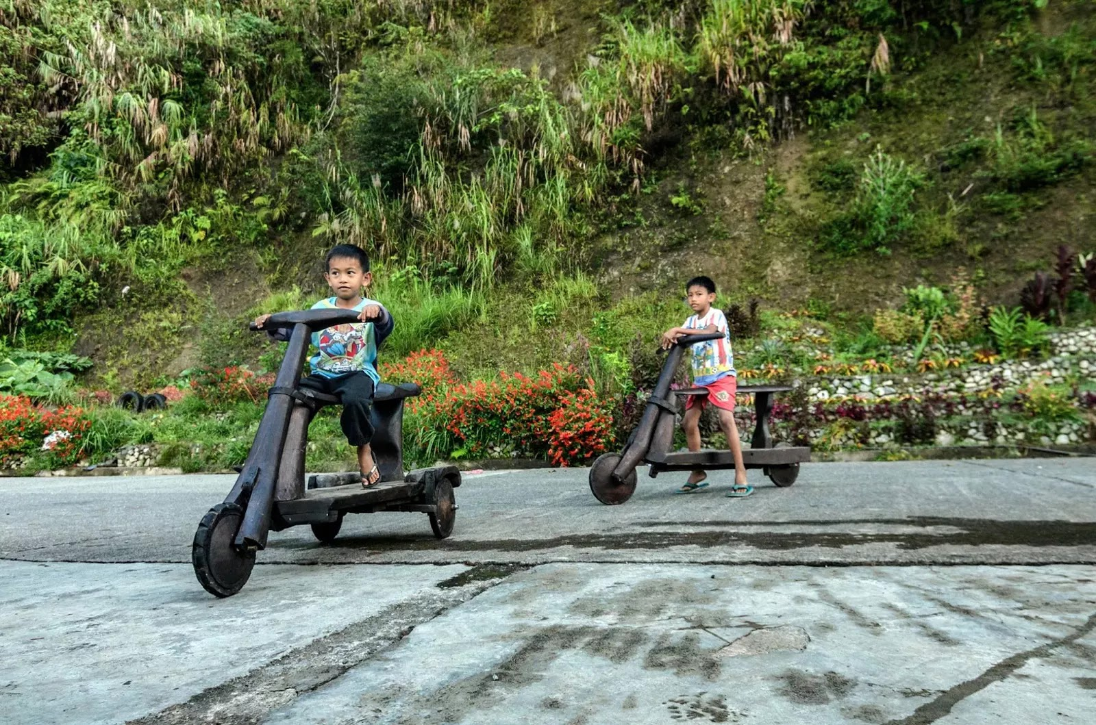 Banaue Ifugao Young Children Wooden Bike Riders Cordillera Administrative Region Philippines