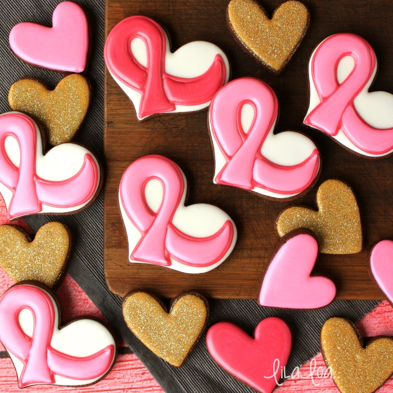 Awareness ribbon decorated sugar cookies