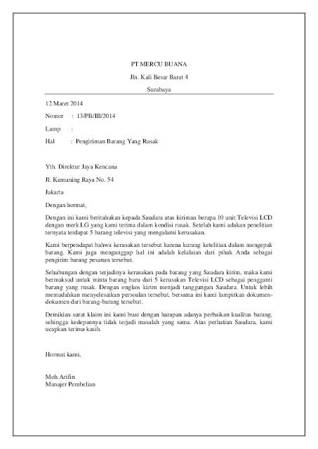 Contoh Surat Komplain