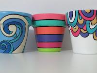 Macetas pintadas - diferentes estilos