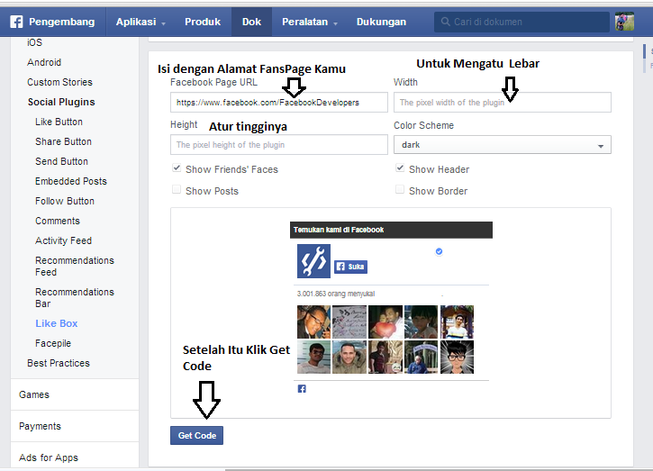 cara memasang fanspage di website, cara memasang fanspage fb di blog.
